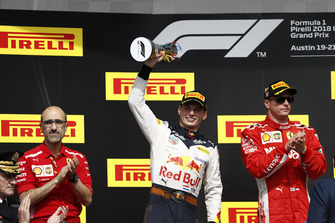 Carlos Santi, Race Engineer, Ferrari, Max Verstappen, Red Bull Racing, 2nd position, with his trophy, and Kimi Raikkonen, Ferrari, 1st position, on the podium