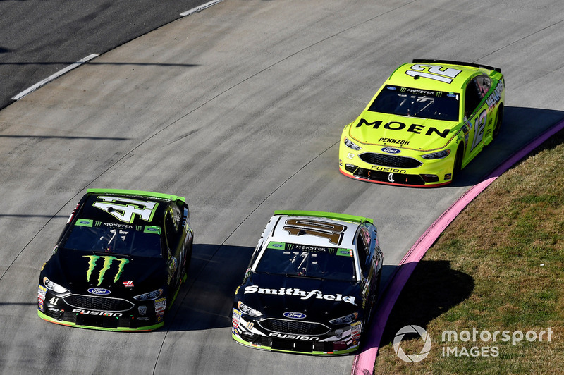 Kurt Busch, Stewart-Haas Racing, Ford Fusion Haas Automation/Monster Energy, Aric Almirola, Stewart-Haas Racing, Ford Fusion Smithfield, Ryan Blaney, Team Penske, Ford Fusion Menards/Moen