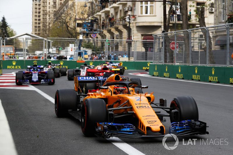 Stoffel Vandoorne, McLaren MCL33 Renault, Kimi Raikkonen, Ferrari SF71H, Brendon Hartley, Toro Rosso STR13 Honda, Romain Grosjean, Haas F1 Team VF-18 Ferrari