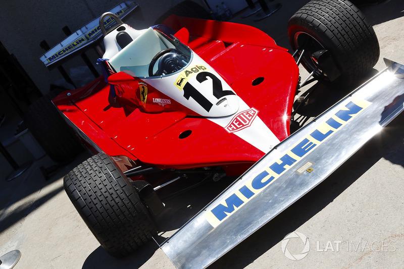A 1978 Ferrari 312 in the paddock