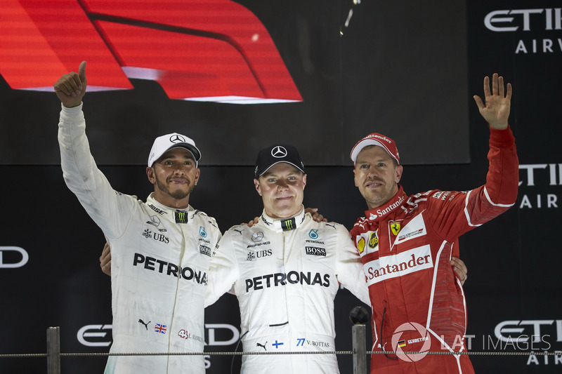 Podyum: 2. Lewis Hamilton, Mercedes AMG F1, yarış galibi Valtteri Bottas, Mercedes AMG F1, 3. Sebastian Vettel, Ferrari