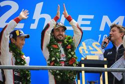 Overall podium: winners Kazuki Nakajima, Fernando Alonso, Toyota Gazoo Racing