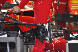 Front suspension on the Ferrari SF70H of Sebastian Vettel