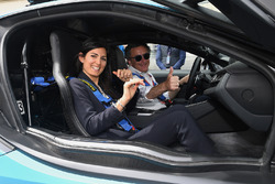 Alejandro Agag, CEO, Formula E, drives Virgini Elena Raggo, Mayor of Rome, in the BMW i8 Qualcomm Safety car
