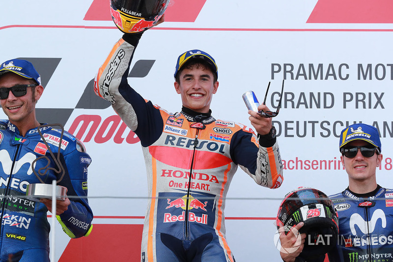 Race winner Marc Marquez, Repsol Honda Team, second place Valentino Rossi, Yamaha Factory Racing, third place Maverick Viñales, Yamaha Factory Racing