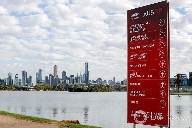Segnaletica della Formula 1 che si affaccia su Melbourne, Australia