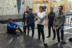 Augusto Farfus, Marco Wittmann, Philipp Eng, Bruno Spengler Philipp Eng and Joel Eriksson on the Climbing hall
