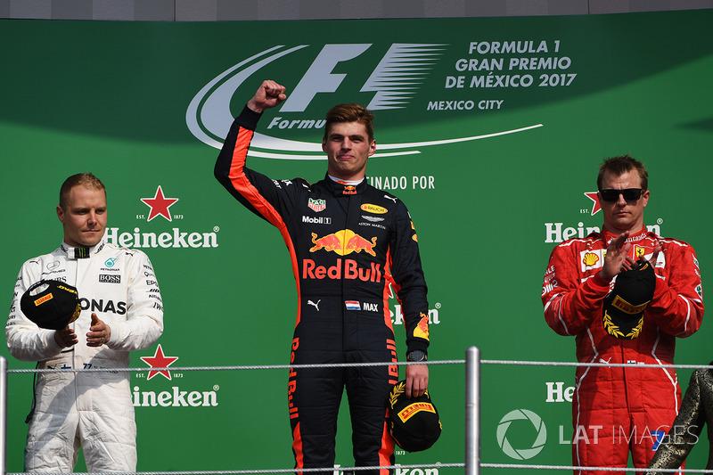18º Podio del GP de México 2017 - 2º Valtteri Bottas, Mercedes, 1º Max Verstappen, Red Bull; 3º Kimi Raikkonen, Ferrari