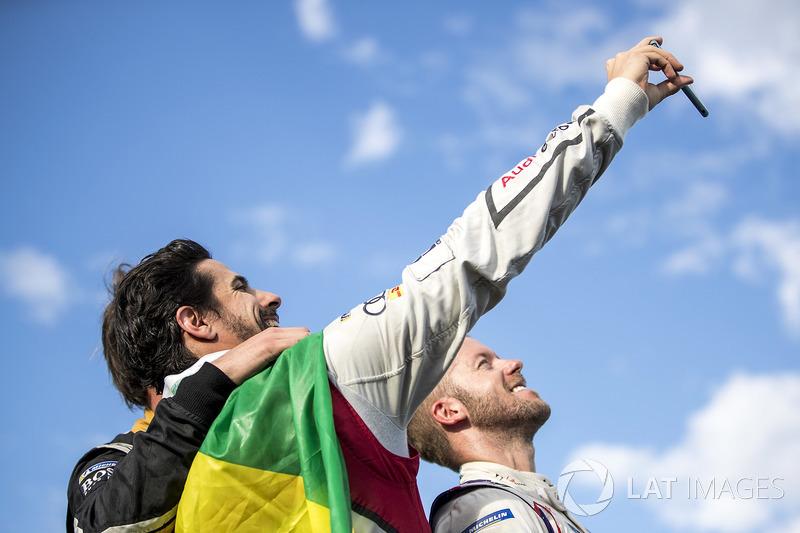 Lucas di Grassi, Audi Sport ABT Schaeffler, Sam Bird, DS Virgin Racing, festeggiano sul podio