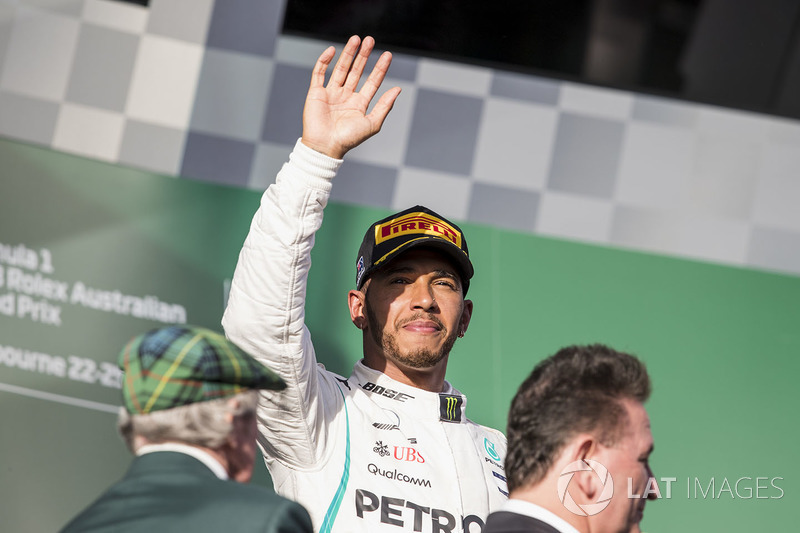 Lewis Hamilton, Mercedes AMG F1, 2nd position, on the podium