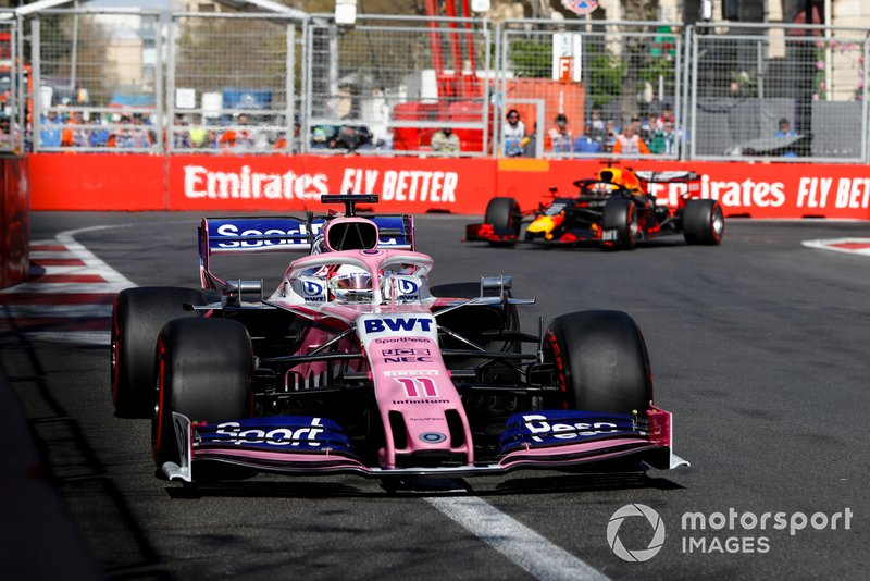 Sergio Perez, Racing Point RP19, leads Max Verstappen, Red Bull Racing RB15