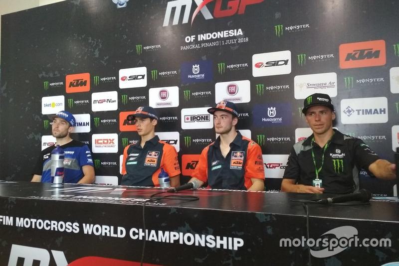 Shaun Simpson Wilvo Yamaha MXGP, Jorge Prado KTM Factory Racing, Jeffrey Herlings, KTM Factory Racing and Julien Lieber Kawasaki Racing