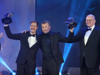FIA Formula 1 World Championship for Drivers: Sebastian Vettel and Kimi Räikkönen with their runner up trophies