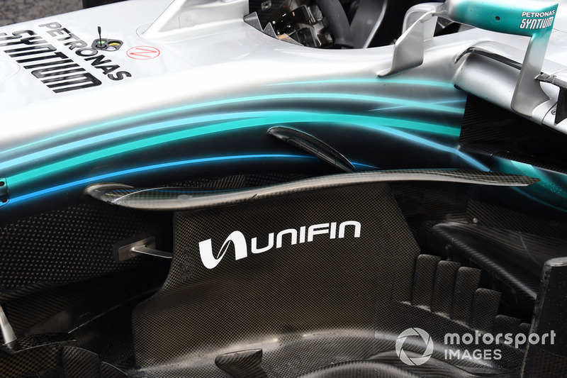 Barge board detail on car of Valtteri Bottas, Mercedes AMG F1 W09 EQ Power+ after stopping on track during FP2