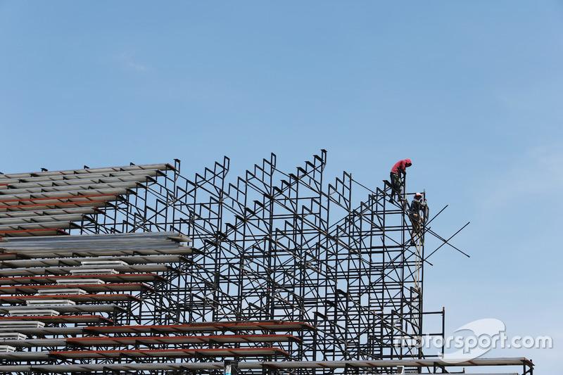 A grandstand under construction