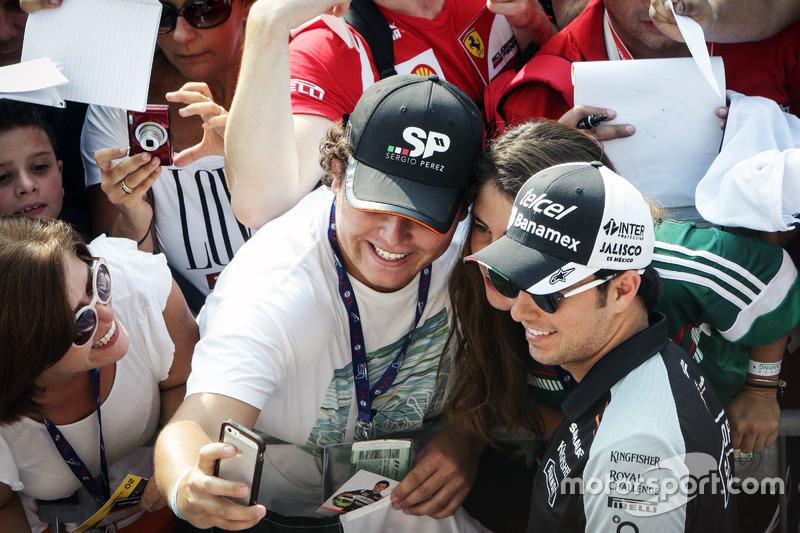 Sergio Perez, Sahara Force India F1 with fans