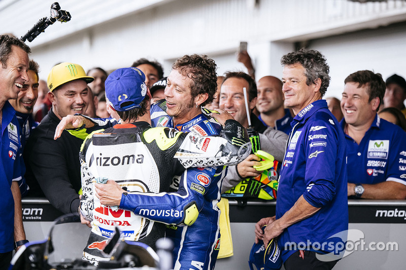 Third place Valentino Rossi, Yamaha Factory Racing, second place Cal Crutchlow, Team LCR Honda in pa