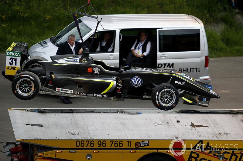 La voiture de Lando Norris, Carlin Dallara F317 - Volkswagen après l'accident