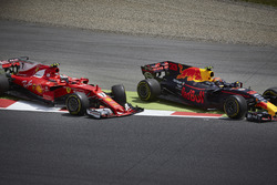 Kimi Raikkonen, Ferrari SF70H, Max Verstappen, Red Bull Racing RB13, rejoin in vain after contact that ended their race for the day