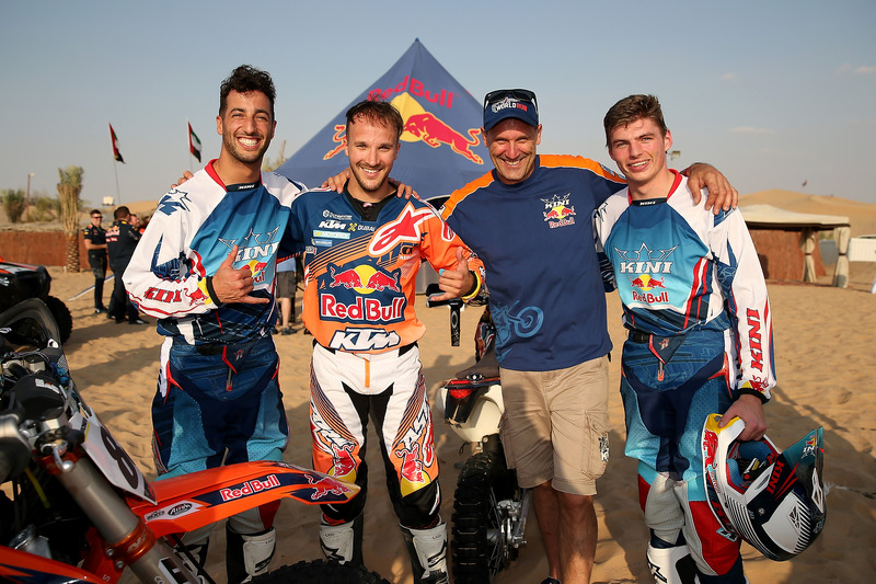 Daniel Ricciardo, Red Bull Racing; Sam Sunderland; Heinz Kinigadner; Max Verstappen, Red Bull Racing