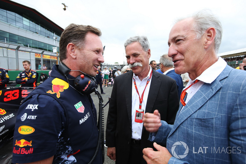 Christian Horner, Team Principal, Red Bull Racing, Chase Carey,jefe de la F1