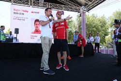 Sebastian Vettel, Ferrari is interviewed by Will Buxton, NBC TV Presenter