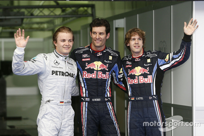 Polesitter Mark Webber, Red Bull Racing, second place Nico Rosberg, Mercedes AMG F1, third place Sebastian Vettel, Red Bull Racing
