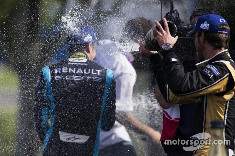Podium: Sébastien Buemi, Renault e.Dams und Jean-Eric Vergne, Techeetah