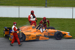 Fernando Alonso, Andretti Autosport Honda retires after a blown engine