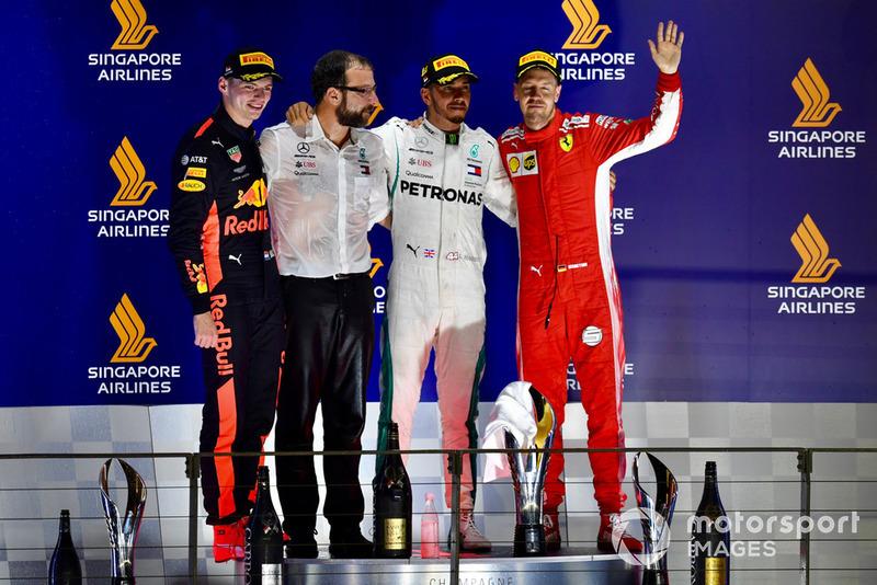 2018: 1. Lewis Hamilton, 2. Max Verstappen, 3. Sebastian Vettel
