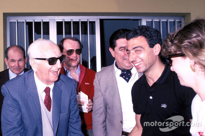 Modena 1986, Enzo Ferrari, Michele Alboreto, Ferrari with his wife Nadia, during the Mille Miglia veterans parade at the Scaglietti factory
