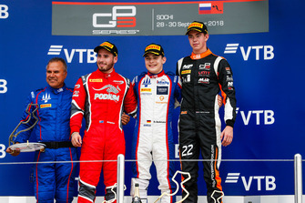 Podium: race winner David Beckmann, Trident, second place Joey Mawson, Arden International, third place Richard Verschoor, MP Motorsport