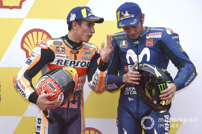 Pole sitter Marc Marquez, Repsol Honda Team, third place Valentino Rossi, Yamaha Factory Racing