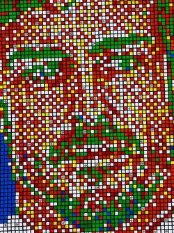 Portrait of Fernando Alonso, McLaren, made from Rubik's Cubes