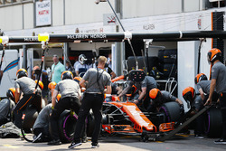 Jenson Button, McLaren MCL32, in the pits