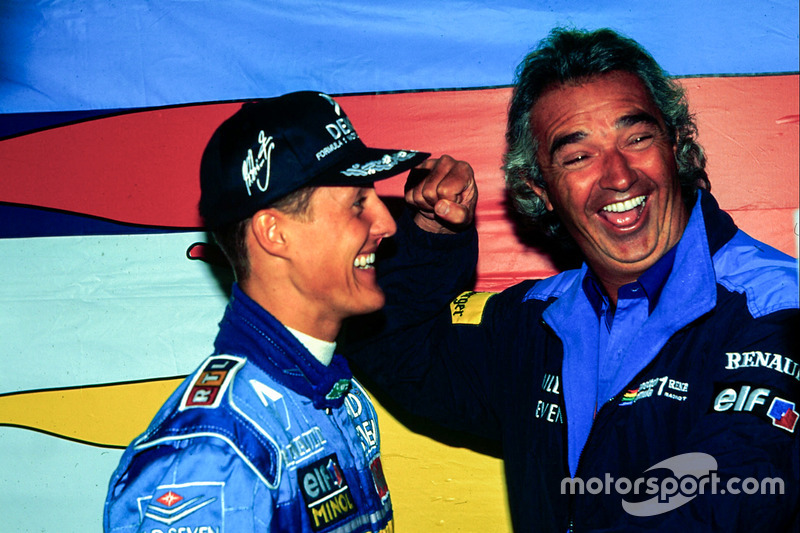 Race winner Michael Schumacher, Benetton, Flavio Briatore