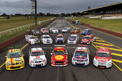 Field of cars with retro livery