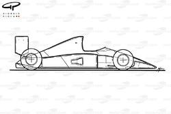 Схема McLaren MP4-6 1991 года, вид сбоку