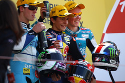 Podium: second place Pol Espargaro, Race winner Marc Marquez, third place Bradley Smith