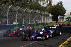 Kevin Magnussen, Haas F1 Team VF-17, and Marcus Ericsson, Sauber C36