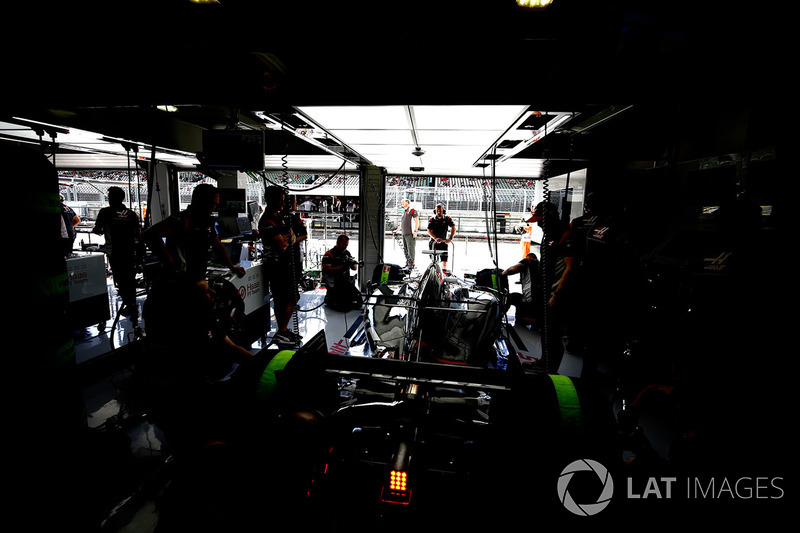 The lights are off in the Haas F1 Team garage
