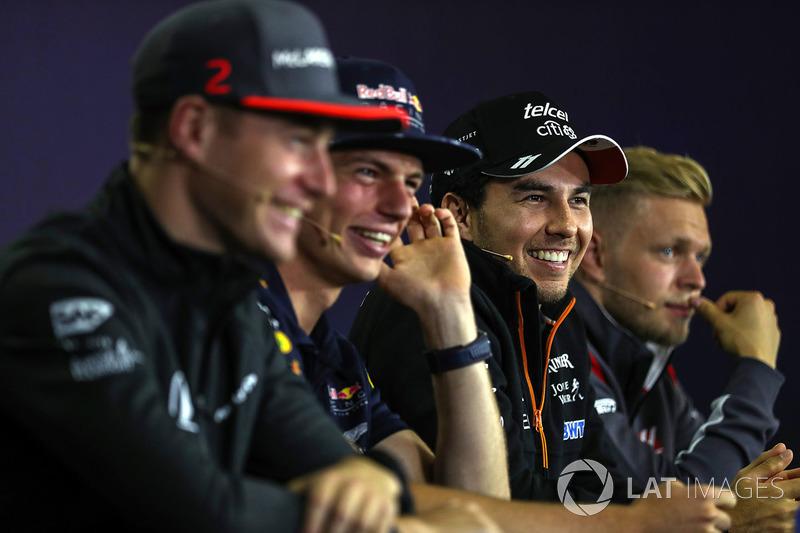 Stoffel Vandoorne, McLaren, Max Verstappen, Red Bull Racing, Sergio Perez, Force India, Kevin Magnus