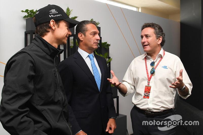 Esteban Gutiérrez, Techeetah, with Alejandro Agag, Formula E CEO