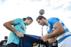Rugby player Juan Manuel Leguizamón with Nelson Piquet Jr., NEXTEV TCR Formula E Team