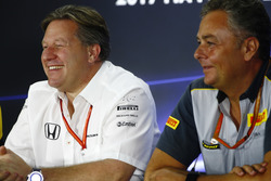 Zak Brown, Executive Director, McLaren Technology Group, Mario Isola, Racing Manager, Pirelli Motorsport, in the press conference