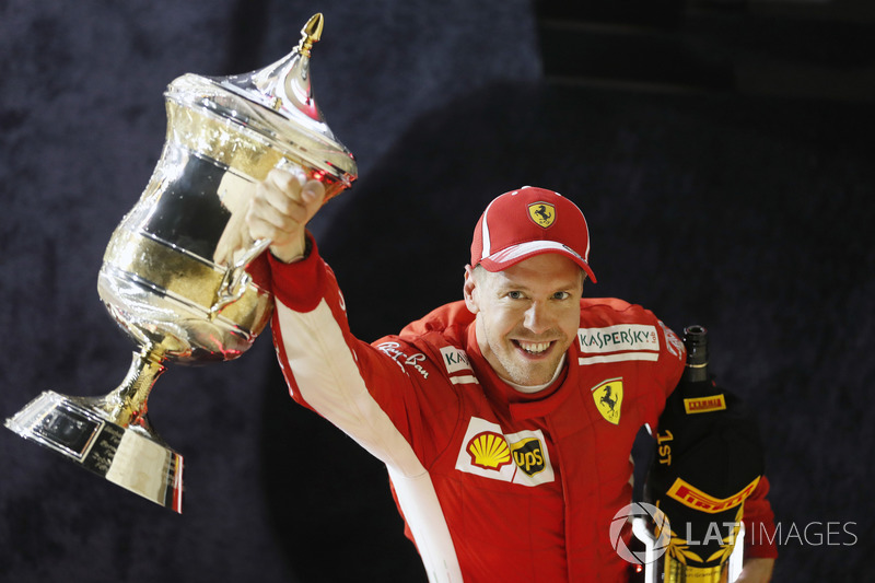 Sebastian Vettel, wins the Bahrain Grand Prix