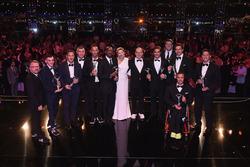 I vincitori dei Laureus Award con il Principe Alberto II di Monaco e la moglie Charlene, Principessa di Monaco, Toto Wolff, Direttore Esecutivo Mercedes AMG F1