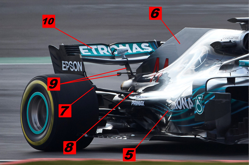 Mercedes AMG F1 W09 detalle de la parte trasera