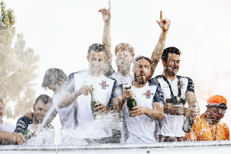 The Williams team celebrate winning the Raft Race