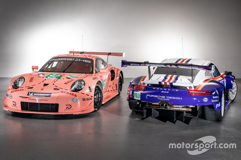 #92 Porsche GT Team Porsche 911 RSR and #91 Porsche GT Team Porsche 911 RSR with special liveries
